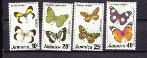 J27467 1977 jamaica set mh #423-6 butterflies