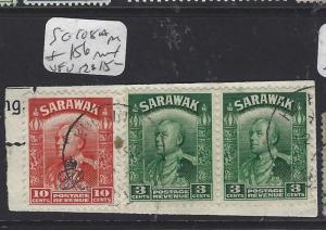 SARAWAK  (P2911B)  BROOKE  3C PR +10C  SG 108A PR156 PIECE   VFU