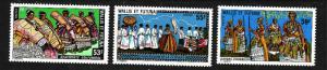Wallis & Futuna-Sc#218-20-unused NH set-Traditional Patterns-1978-