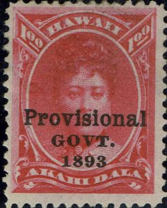 HAWAII #73 1893 $1 BLACK OVERPRINT ISSUE MINT-OG/HINGED-SMALL THIN SPOT