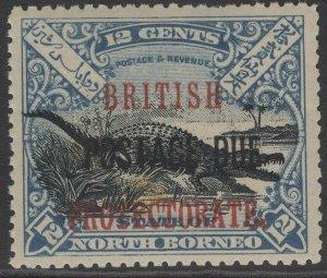 NORTH BORNEO SGD46 1910 12c BLACK & DULL BLUE MNH TONE SPOT