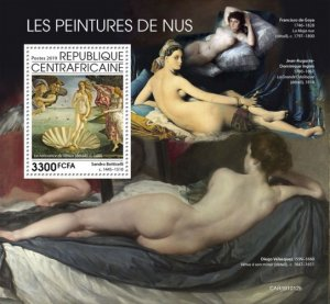 C A R - 2019 - Nude Paintings - Perf Souv Sheet  - M N H