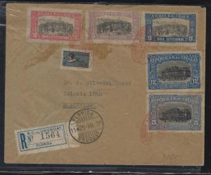 URUGUAY   (PP2604B)  1925 REG FROM FLORIDA TO MONTEVIDEO 6 STAMPS