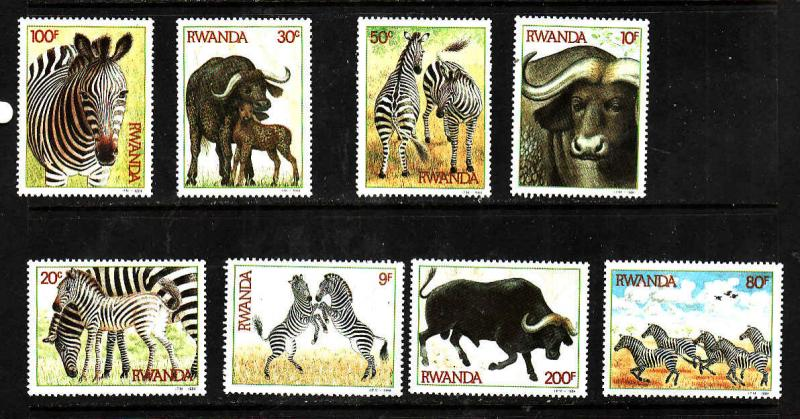Rwanda MNH 1199-1206 Wild Animals Zebras & Buffaloes 1984 SCV 19.30