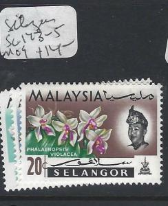 MALAYA SELANGOR  (P0502B)  ORCHID   10C-30C  SG 143-5   MOG