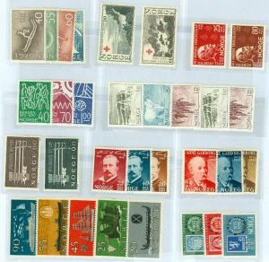 EDW1949SELL : NORWAY Beautiful group of 10 Different VF MNH Cplt sets. Cat $125.