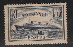 FRANCE Scott 300 MNH** 1936  Normandie  ship, Toned Gum