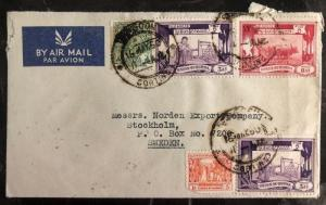1950 Rangoon Burma Commercial Airmail Cover To Stockholm Sweden