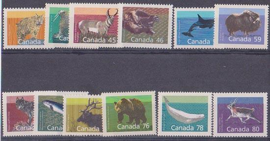 Canada USC #1170-1180 Mint 1988-1990 Mammal Definitives Set of 12