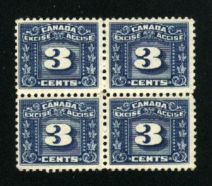Canada 3 cent excise Block of 4   Mint NH  PD