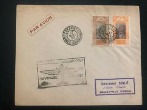 1937 Conakry French Guinea First Flight Airmail cover FFC to Brazzaville Congo
