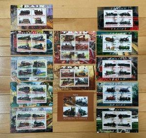 (13) BURUNDI Train/Railroad/Locomotive Themed Stamp Sheets, 2009-11, SOTN/Used