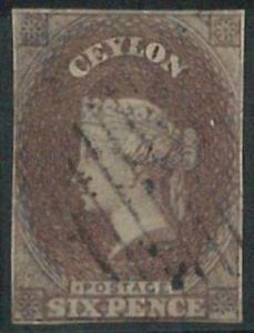 70357 - CEYLON - STAMPS: Stanley Gibbons #  6a - Finely Used