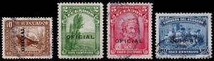 Ecuador Scott O192, O196-O198 (1936-37) Used/Mint H F-VF B