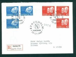 Sweden FDC  1964 Nobel Prize 1904. Addressed. Registered.