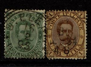 Italy SC# 54 and 56, Used, Hinge Remnants - S4219