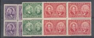 CANADA 1927 Historical issue set blocks of 4 mint no gum...................87238