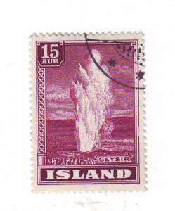 Iceland Sc203 1938 15 aur Geyser stamps used