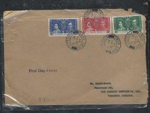 HONG KONG  (PP0109B) 1937   KGVI CORONATION SET ON FDC TO CANADA