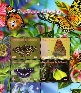 Djibouti 2015 Colorful Butterfly 4v Mint Souvenir Sheet S/S. (#02)