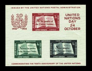 1955 United Nations #38 U.N. Day Souvenir Sheet - OGNH - VF - CV$50.00 (E#4297)