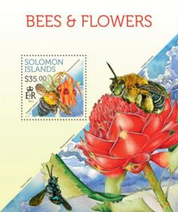 SOLOMON ISLANDS 2013 SHEET BEES FLOWERS INSECTS slm13710b