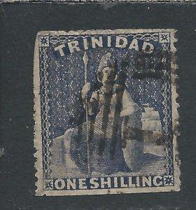 TRINIDAD 1861 1s DEEP BLUISH PURPLE GU ROUGH PERF 14-16½ GU SG 59 CAT £425