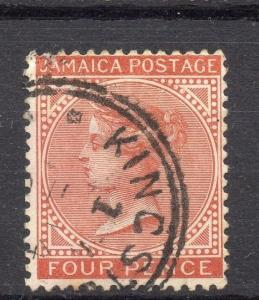 Jamaica 1883 Early Issue Fine Used 4d. Crown C.A 189741