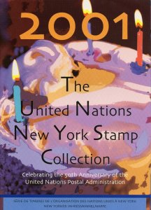 UNITED NATIONS 2001 NEW YORK YEAR FOLDER COMPLETE WITH ALL MINT STAMPS NH
