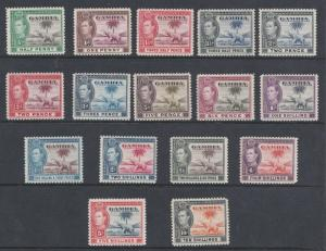 GAMBIA  1938  S G 150 - 161  SET OF 16  MH CAT £175