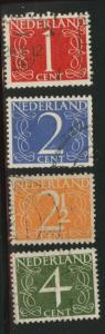 Netherlands Scott 282-285 used 1946-47 set