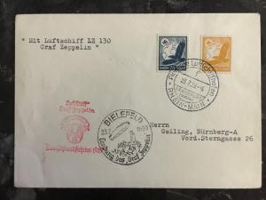 1939 Bielefeld Germany Graf Zeppelin II Cover to Frankfurt LZ 130