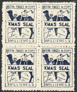 1934 Egypt Military British Forces X-mas 3 milliemes Blue Block of 4 MNH Sc# M6