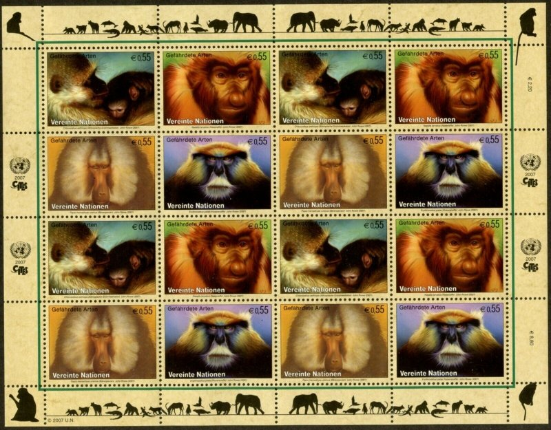 UNITED NATIONS Sc# NY 925-8 GE465-8 VI388-91 2007 Endangered Species Sheets MNH