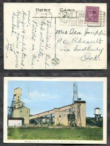 1125 - RHEAULT (Sudbury) Split Ring on 1946 Timmins Moneta Gold Mine Postcard
