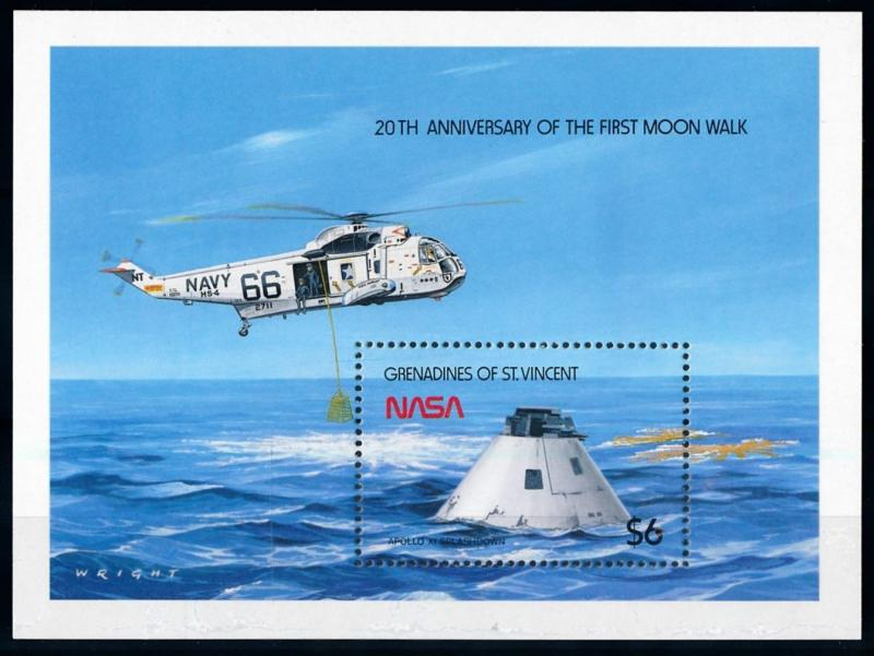 [66164] Grenadines of St. Vincent 1989 Space Weltraum Apollo 11 Sheet MNH