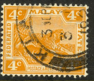 MALAYA 1922-32 4c TIGER Issue Sc 57 VFU
