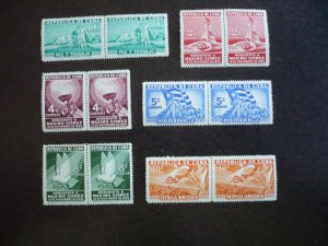 Stamps - Cuba - Scott# 332-336, E9 Mint Hinged Partial Set of 6 Stamps in Pairs