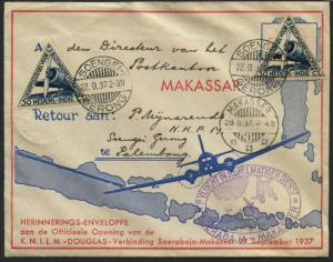 OFFICIAL OPENING FLT CVR SOENGEI GERONG, INDONESIA TO MAKASSAR 9/27/1937 BL1632