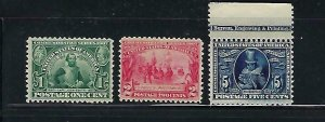 US #328-330 1907 JAMESTOWN EXPOSITION ISSUE- MINT NEVER HINGED