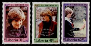Liberia MNH 962-4 Princess Diana 21st Birthday Royal Baby Overprint SCV 4.35