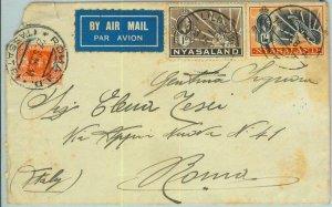 BK0231 - NYASALAND  - POSTAL HISTORY - COVER  to ITALY 1935  taxed on arrival