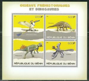 BENIN 2015 DINOSAURS PREHISTORIC FAUNA SHEET OF THREE STAMPS