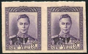 New Zealand KGVI 8d Violet Imperf Pair of Proofs on Backing Card