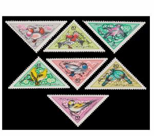 MONGOLIA TRIANGULAR STAMP SET 1961. SCOTT # 214 - 220. TOPIC. BIRD