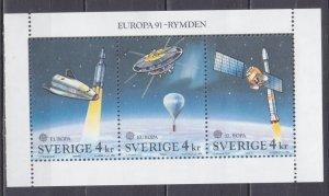 1991 Sweden 1663-1665/B186 Rocket Hermes