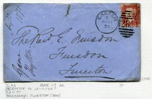 Great Britain Postal History Cover - 1871 SG #43 Plate 117 - 285 Exeter Cancel