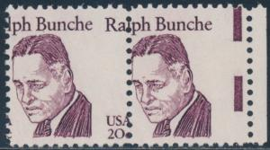 #1860 VAR. 20¢ RALPH BUNCHE PAIR WITH MAJOR COLOR SHIFT ERROR BR5101