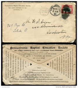 d535 - LEWISBURG Pa 1901 Baptist Education Society ADVERTISING Cover. Forwarded