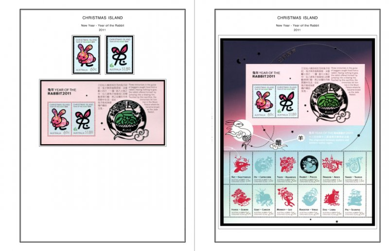 COLOR PRINTED CHRISTMAS ISLAND 2011-2020 STAMP ALBUM PAGES (53 illustr. pages)
